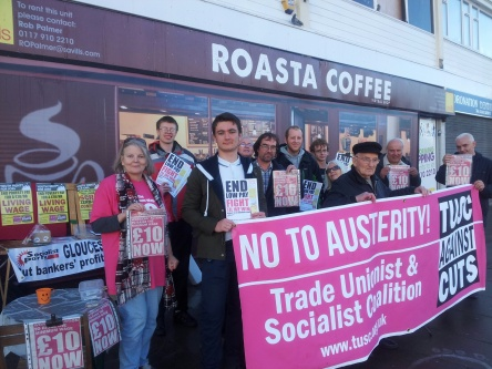 Activists at the Anti-austerity cafe