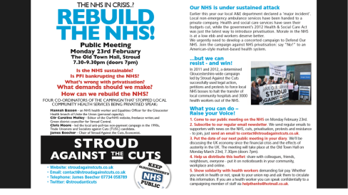 Public meeting organised by @StroudAntiCuts - ''REBUILD THE NHS'', Mon 23rd Feb